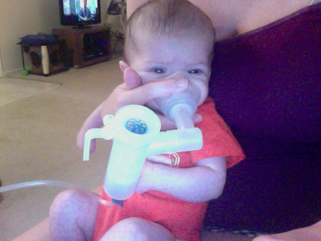 Austin during his nebulizer treatment